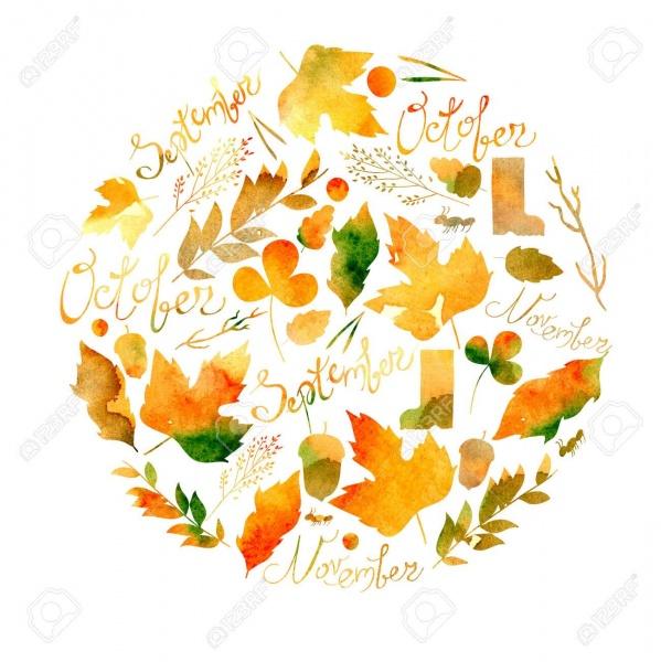 60960948-イラストを描いた一連の葉、小枝、果実、花、秋要素、9-月、10-月、11-月の碑文。水彩テクスチャの黄色、赤、オレンジ、茶色の色